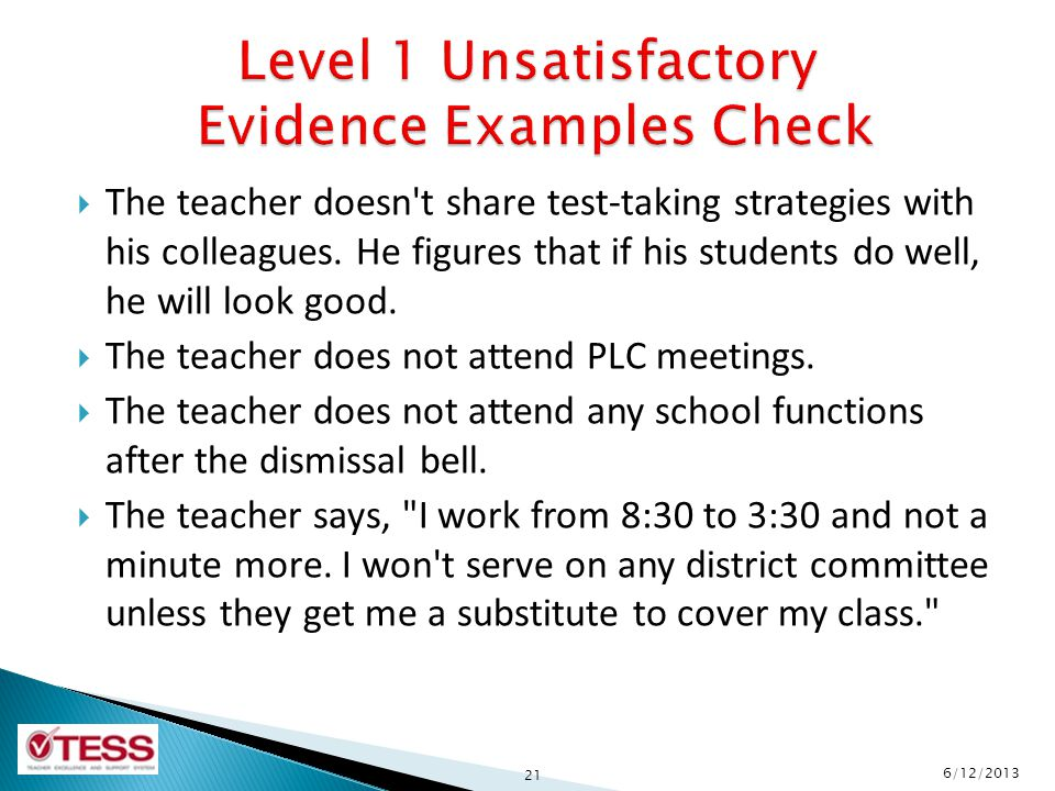 Level 1 Unsatisfactory Evidence Examples Check