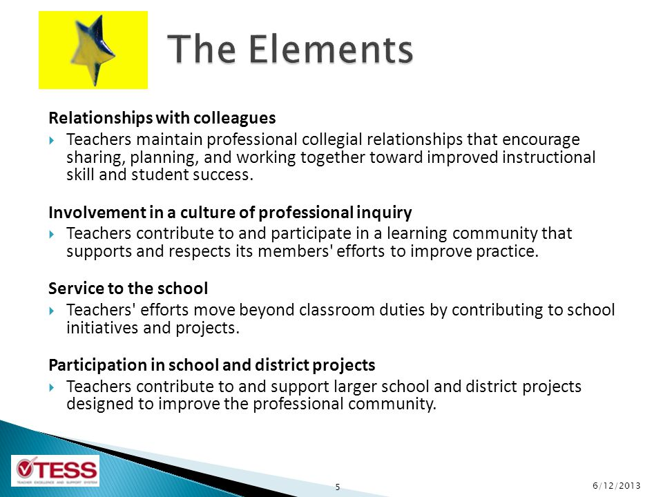 The Elements Relationships with colleagues