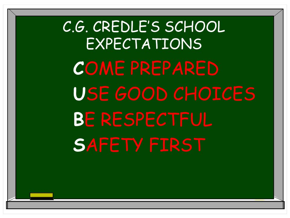 C.G. CREDLE'S SCHOOL EXPECTATIONS