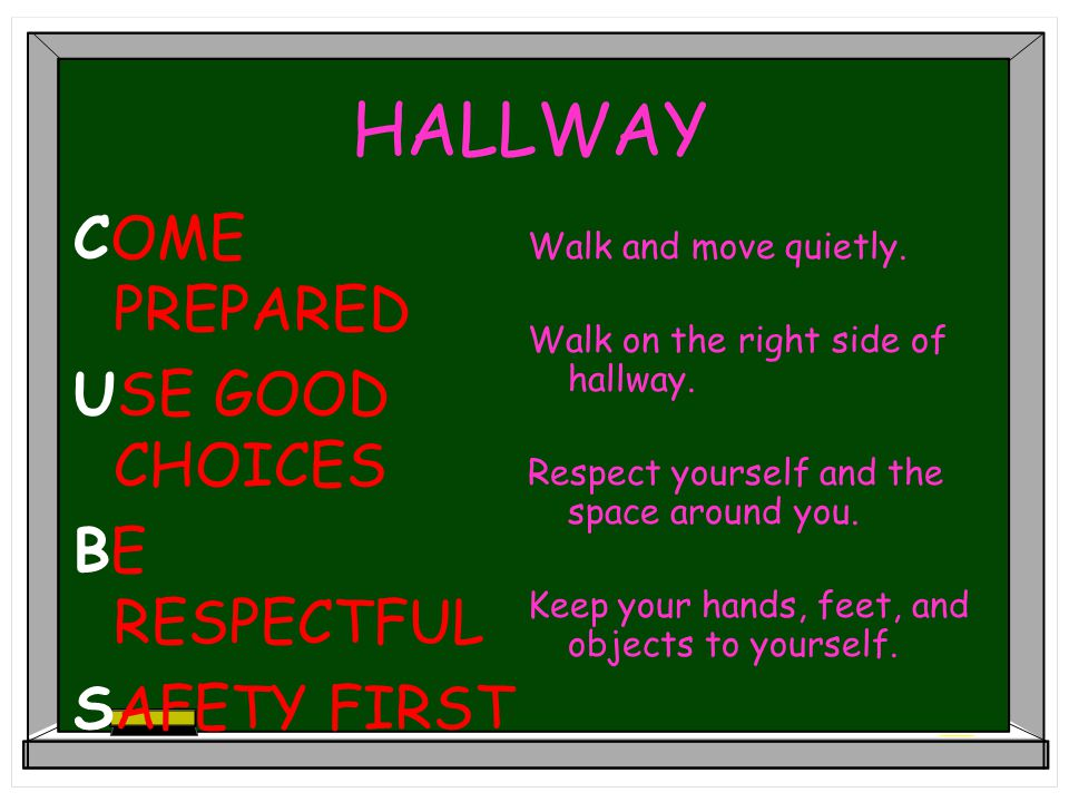 HALLWAY COME PREPARED USE GOOD CHOICES BE RESPECTFUL SAFETY FIRST