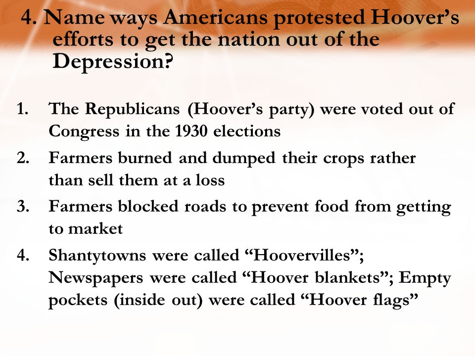 4. Name ways Americans protested Hoover's efforts to get the nation out of the Depression