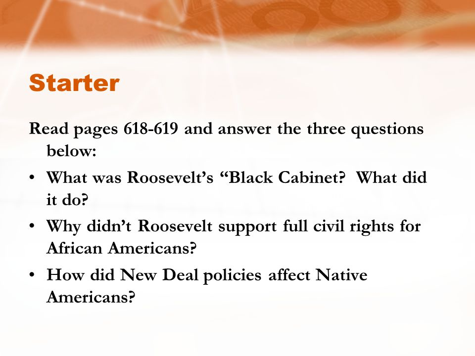 Starter Read pages 618-619 and answer the three questions below: