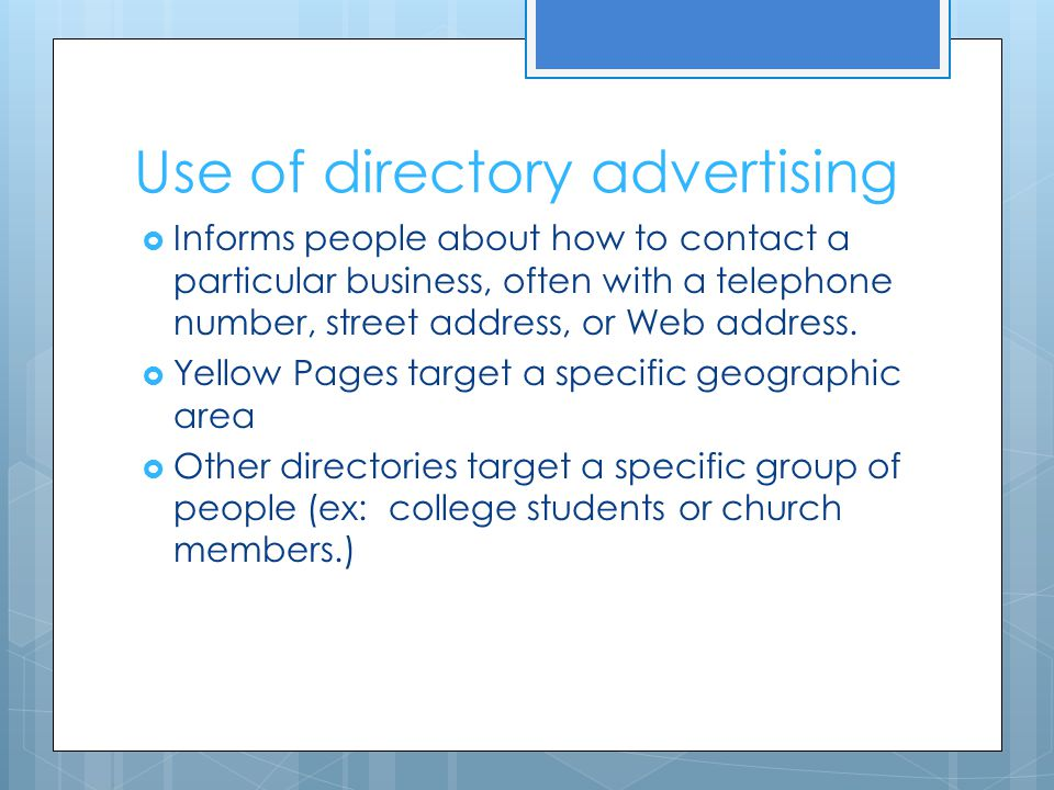 Use of directory advertising