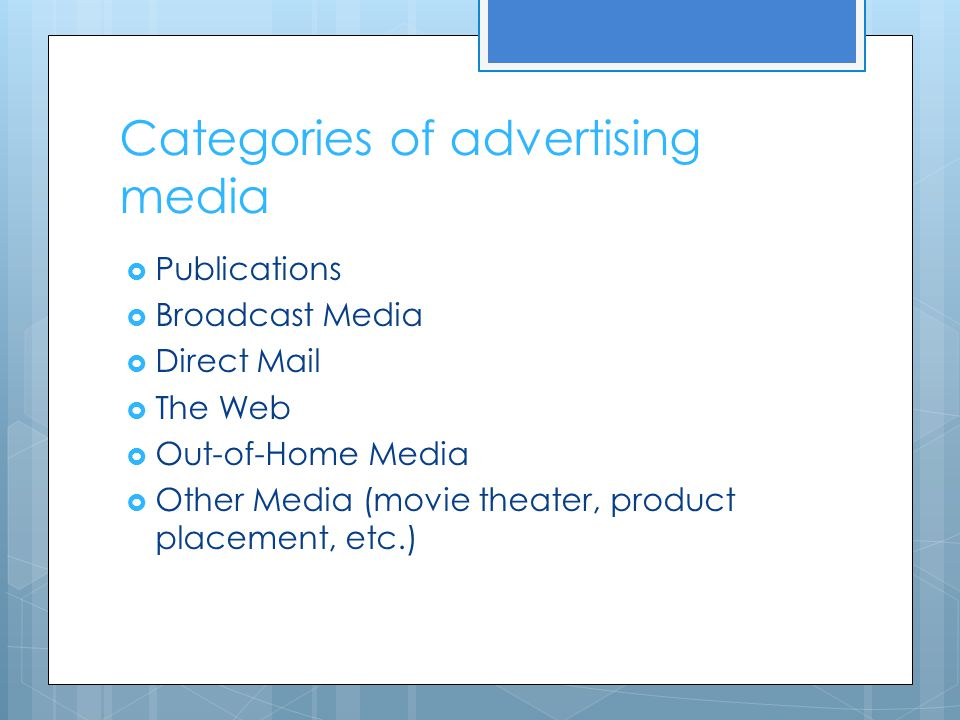 Categories of advertising media