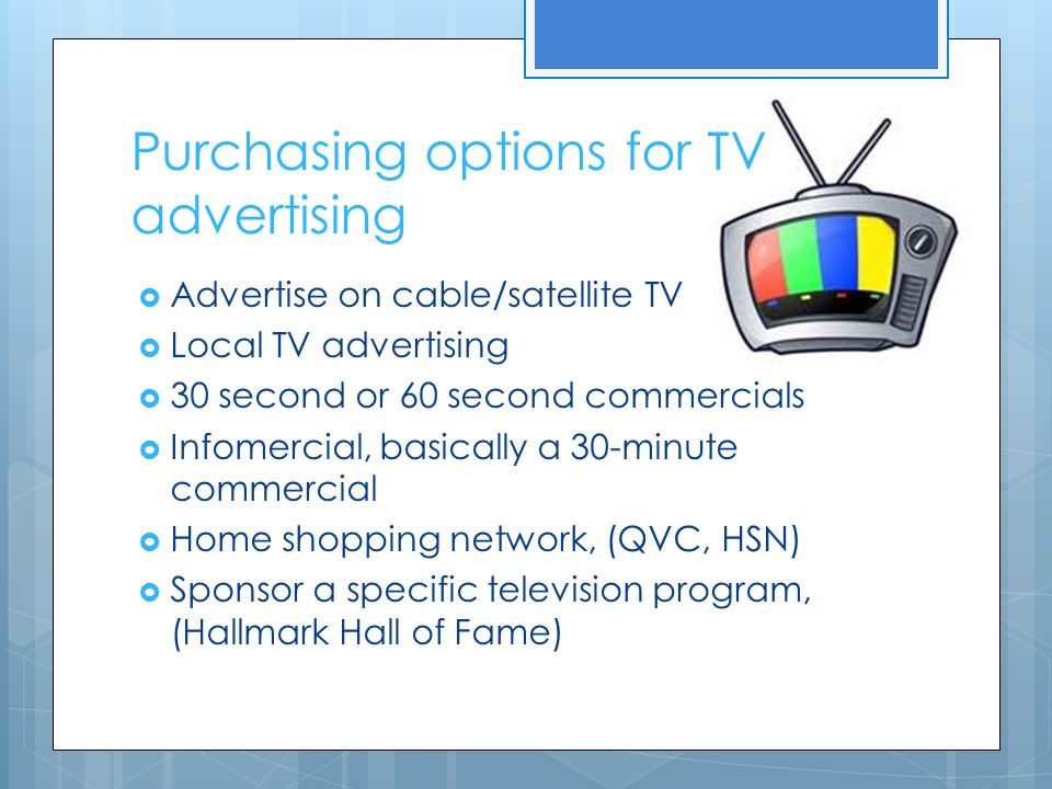 Purchasing options for TV advertising