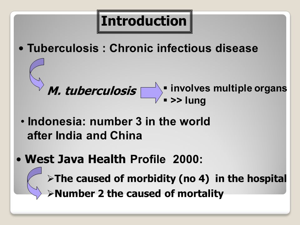 Introduction Tuberculosis : Chronic infectious disease M. tuberculosis