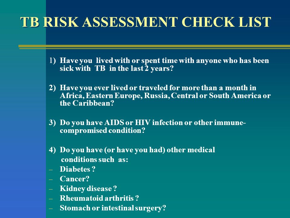 TB RISK ASSESSMENT CHECK LIST
