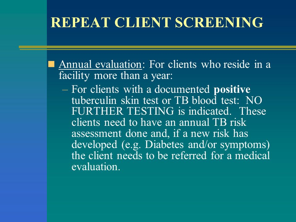 REPEAT CLIENT SCREENING
