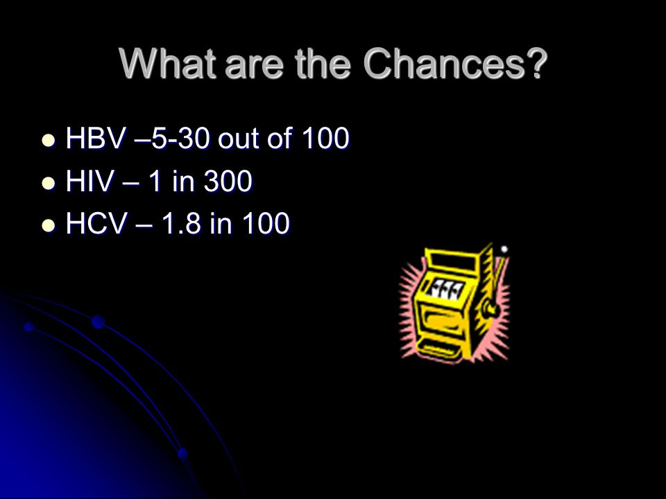 What are the Chances HBV –5-30 out of 100 HIV – 1 in 300