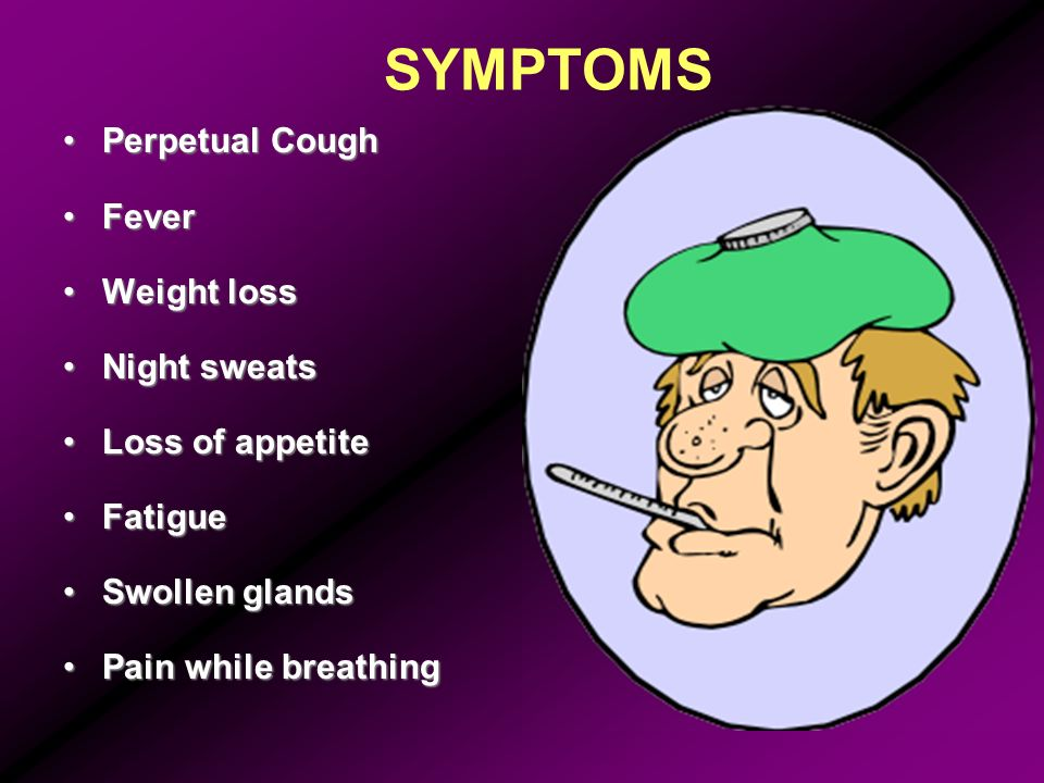 SYMPTOMS Perpetual Cough Fever Weight loss Night sweats