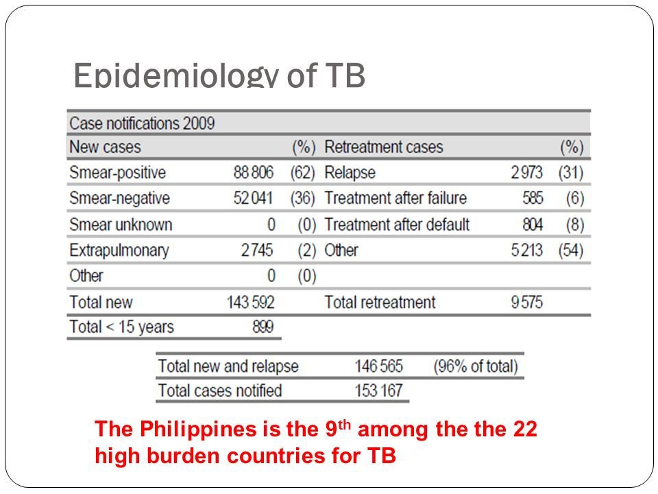 Epidemiology of TB The Philippines is the 9th among the the 22 high burden countries for TB