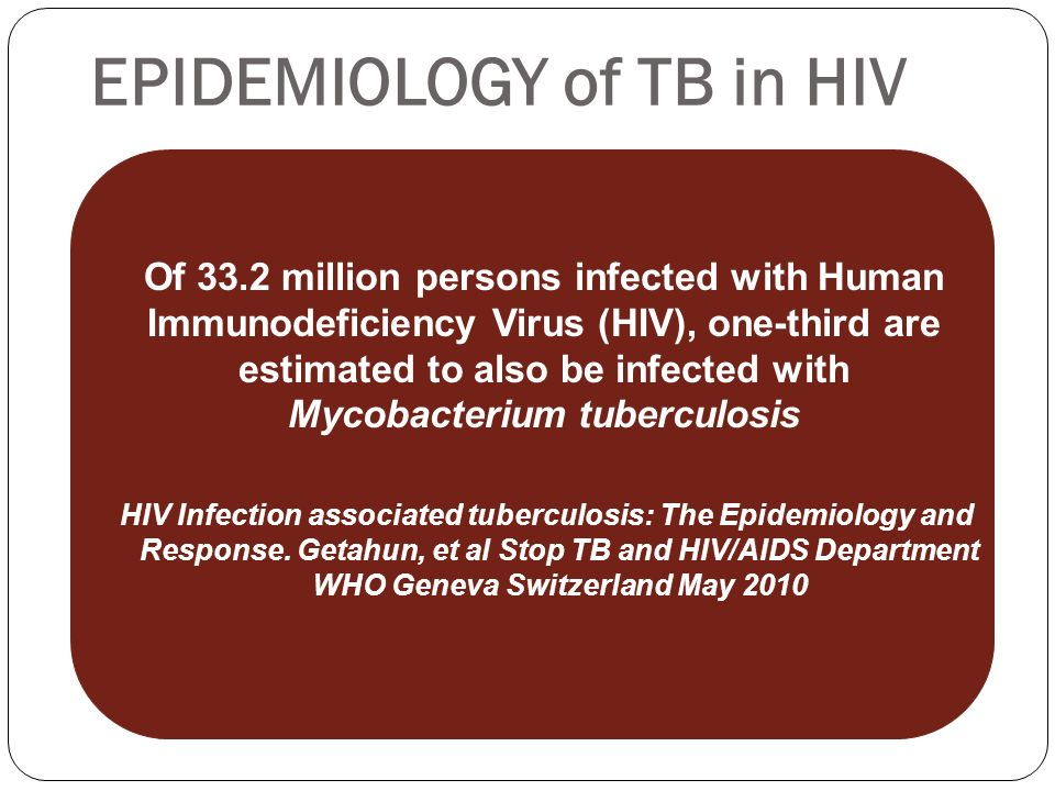 EPIDEMIOLOGY of TB in HIV