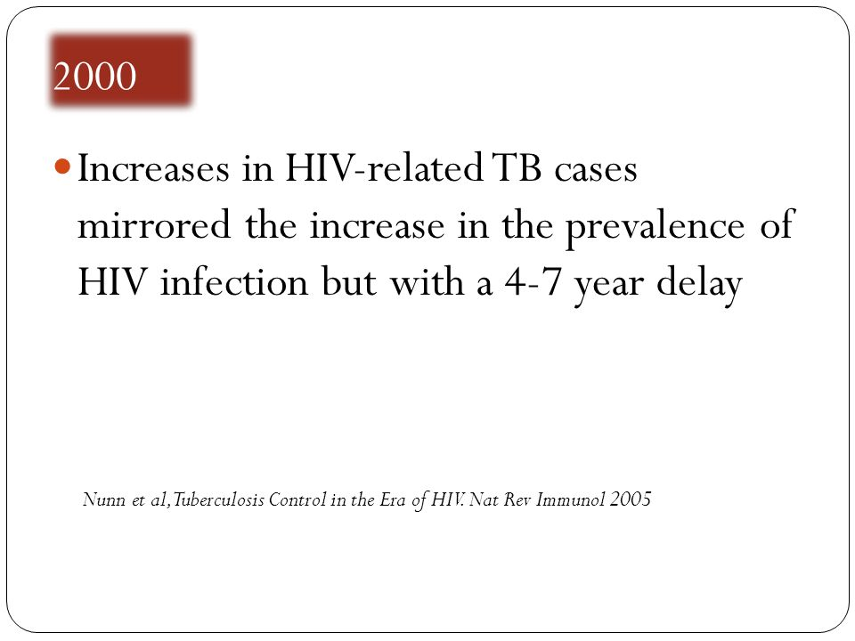 2000 Increases in HIV-related TB cases mirrored the increase in the prevalence of HIV infection but with a 4-7 year delay.