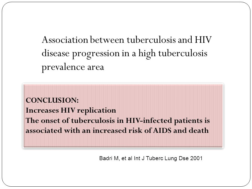 Association between tuberculosis and HIV disease progression in a high tuberculosis prevalence area