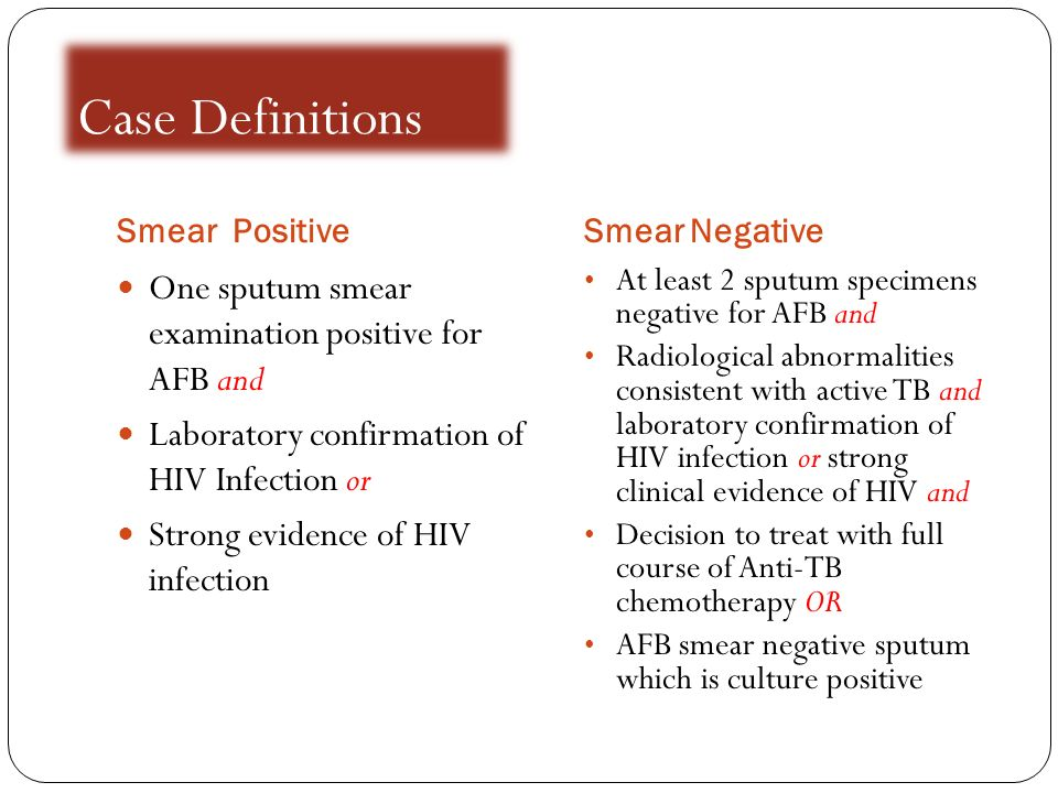 Case Definitions One sputum smear examination positive for AFB and