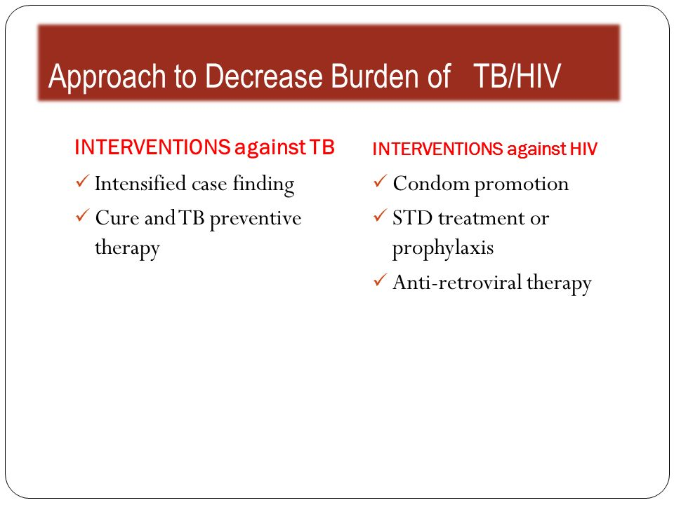 Approach to Decrease Burden of TB/HIV