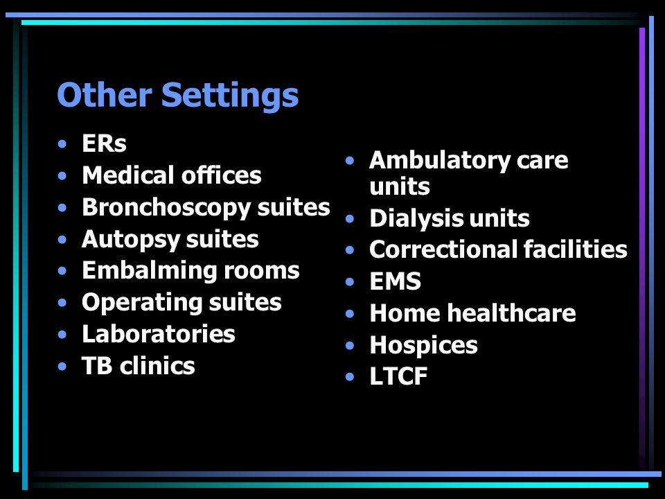 Other Settings ERs Medical offices Ambulatory care units
