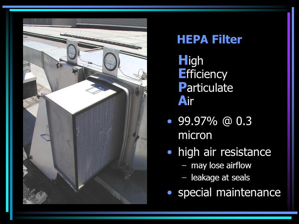 High Efficiency Particulate Air HEPA Filter 99.97% @ 0.3 micron