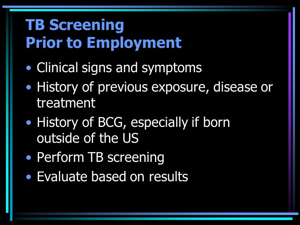 TB Screening Prior to Employment
