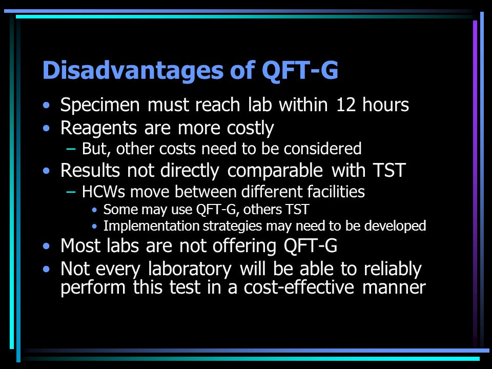 Disadvantages of QFT-G