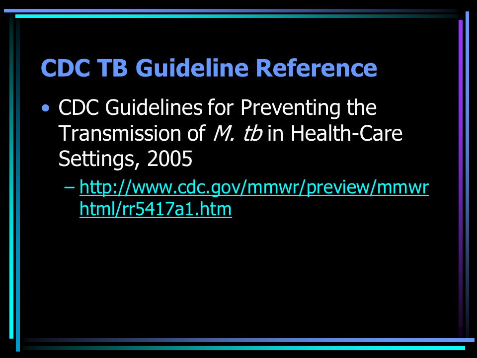 CDC TB Guideline Reference