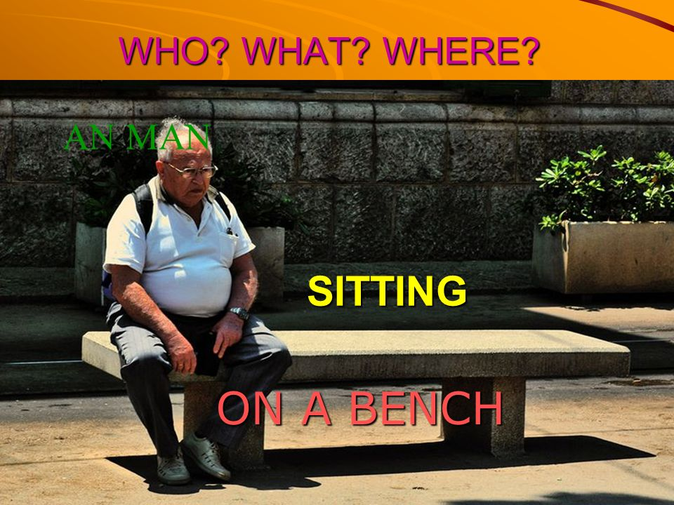 WHO WHAT WHERE AN MAN SITTING ON A BENCH
