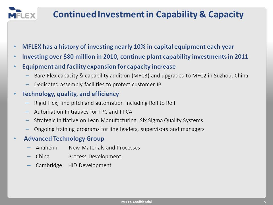 Continued Investment in Capability & Capacity