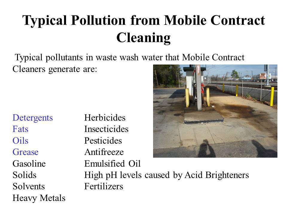 Typical Pollution from Mobile Contract Cleaning
