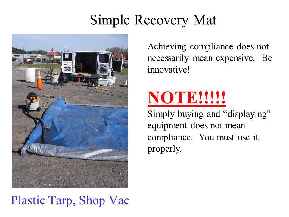 NOTE!!!!! Simple Recovery Mat Plastic Tarp, Shop Vac