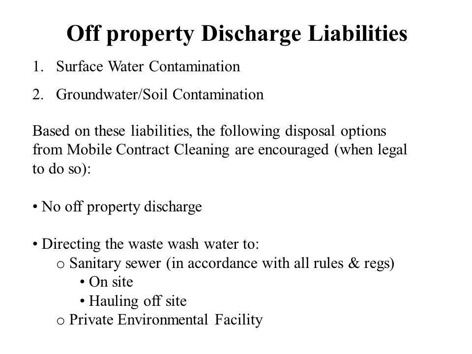 Off property Discharge Liabilities