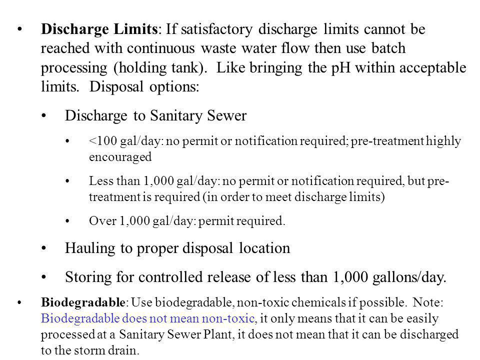 Discharge to Sanitary Sewer
