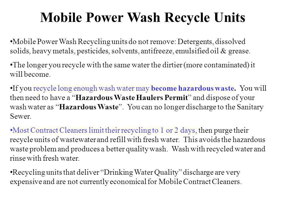 Mobile Power Wash Recycle Units