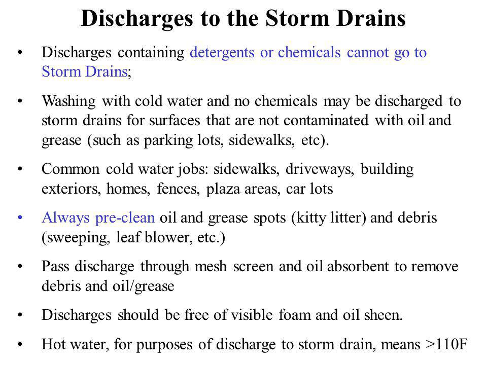 Discharges to the Storm Drains