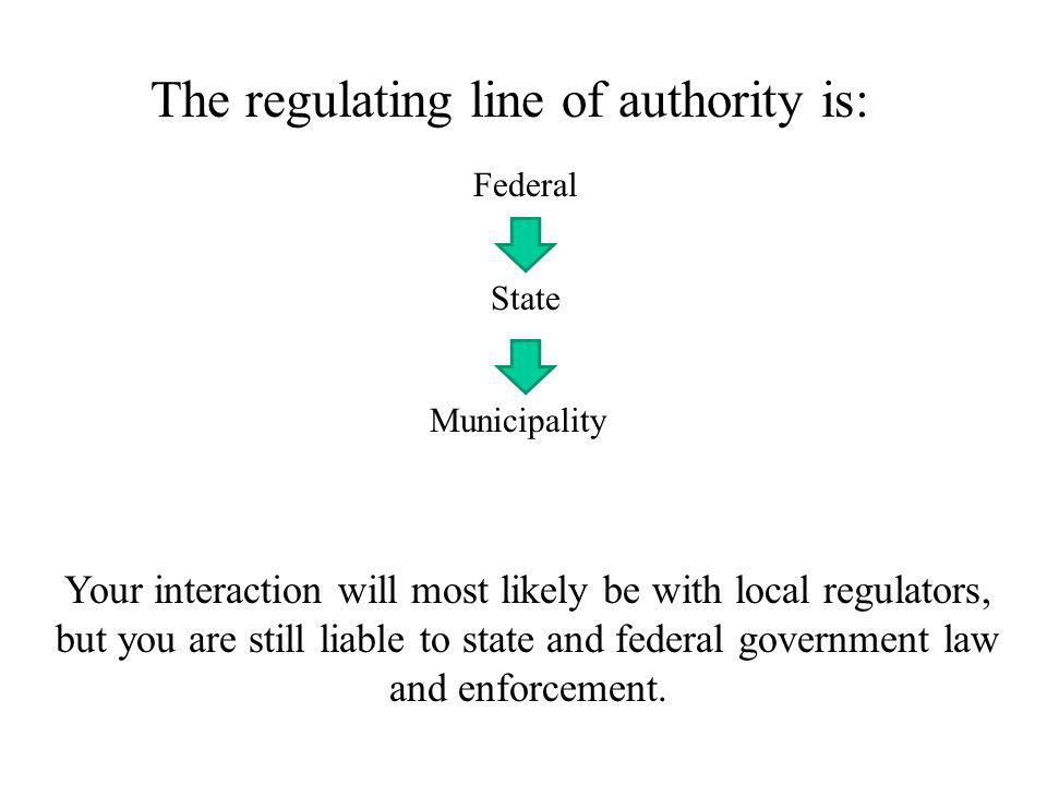 The regulating line of authority is: