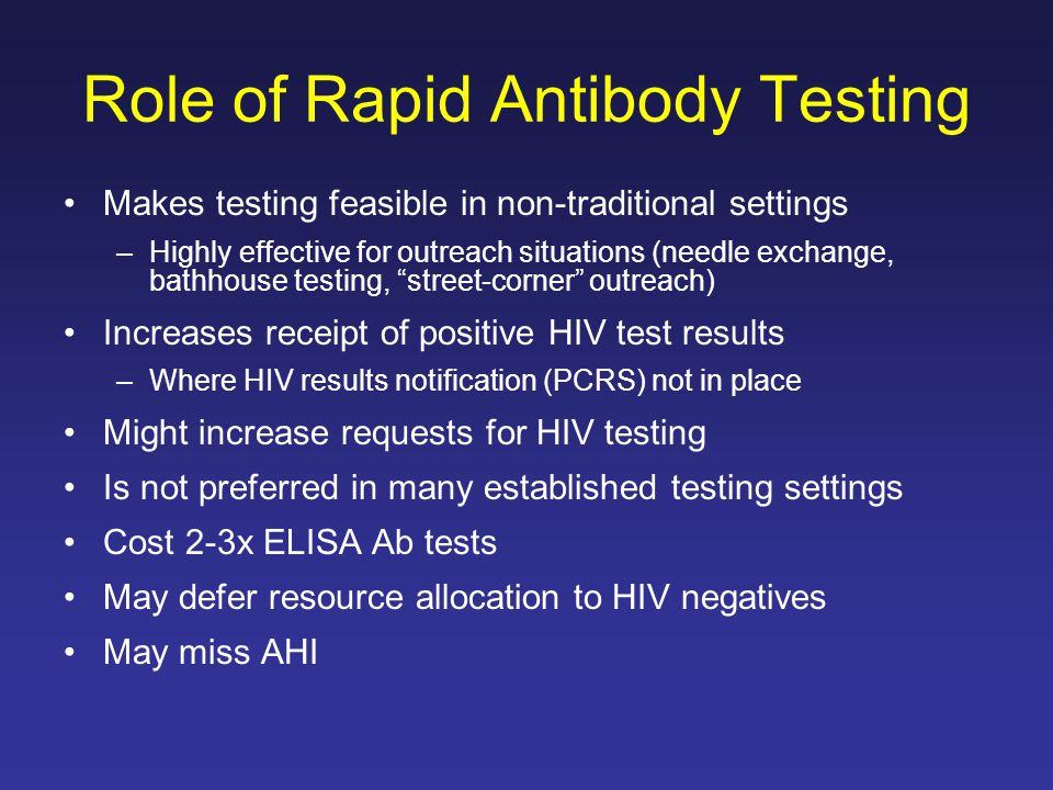 Role of Rapid Antibody Testing