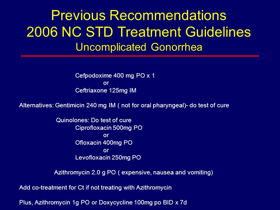 Previous Recommendations 2006 NC STD Treatment Guidelines Uncomplicated Gonorrhea