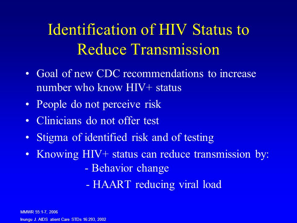 Identification of HIV Status to Reduce Transmission