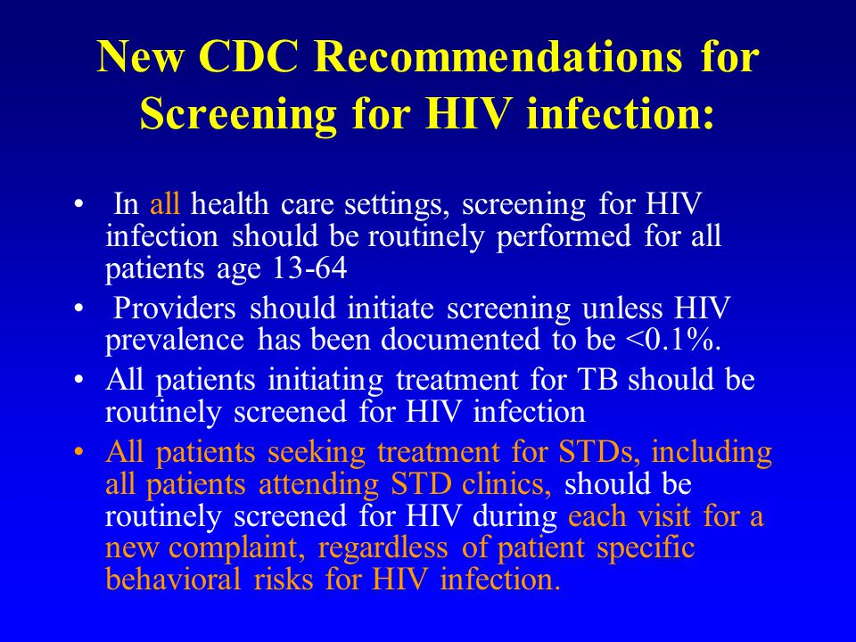 New CDC Recommendations for Screening for HIV infection: