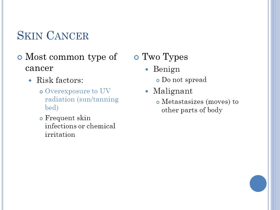 Skin Cancer Most common type of cancer Two Types Benign Risk factors: