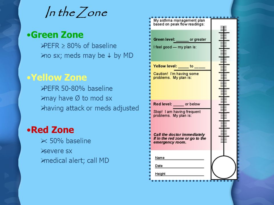 In the Zone Green Zone Yellow Zone Red Zone PEFR  80% of baseline