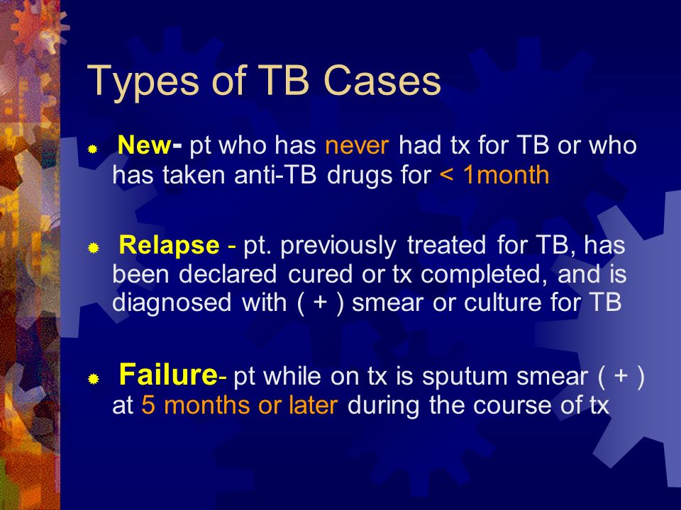 Types of TB Cases New- pt who has never had tx for TB or who has taken anti-TB drugs for < 1month.