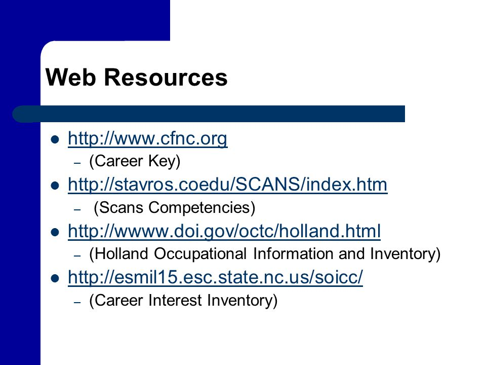 Web Resources http://www.cfnc.org http://stavros.coedu/SCANS/index.htm
