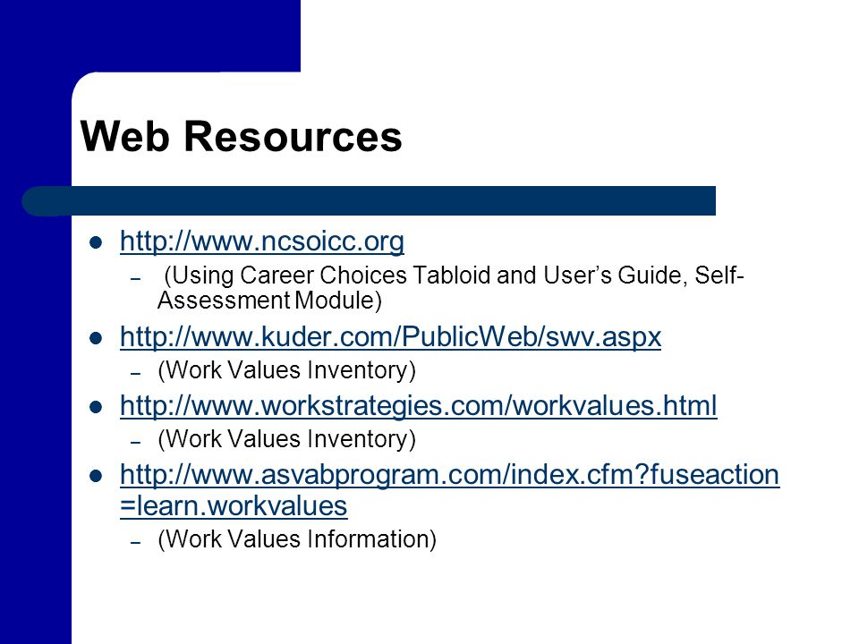 Web Resources http://www.ncsoicc.org