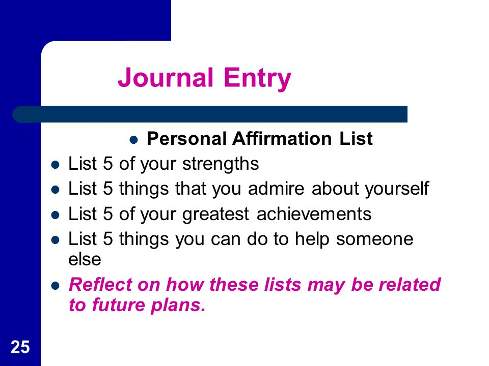 Personal Affirmation List