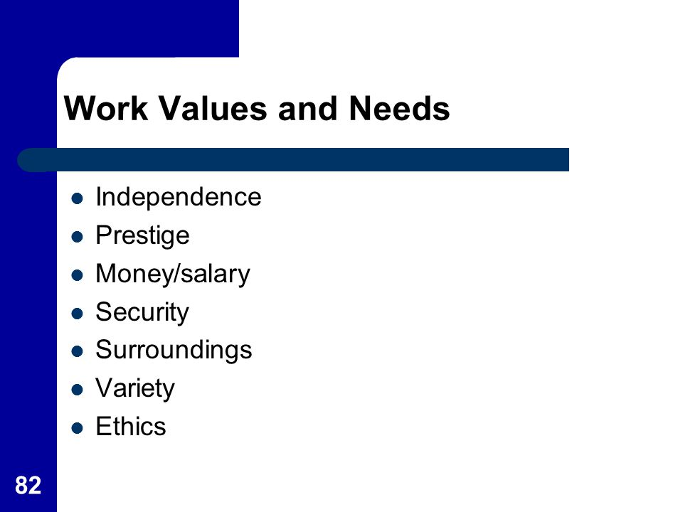 Work Values and Needs Independence Prestige Money/salary Security