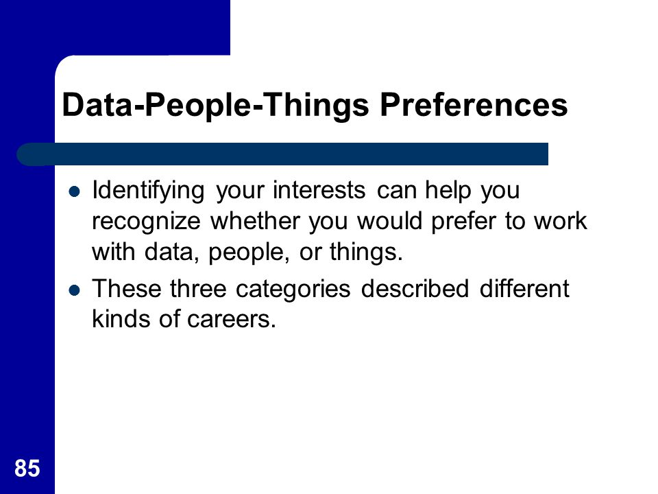 Data-People-Things Preferences