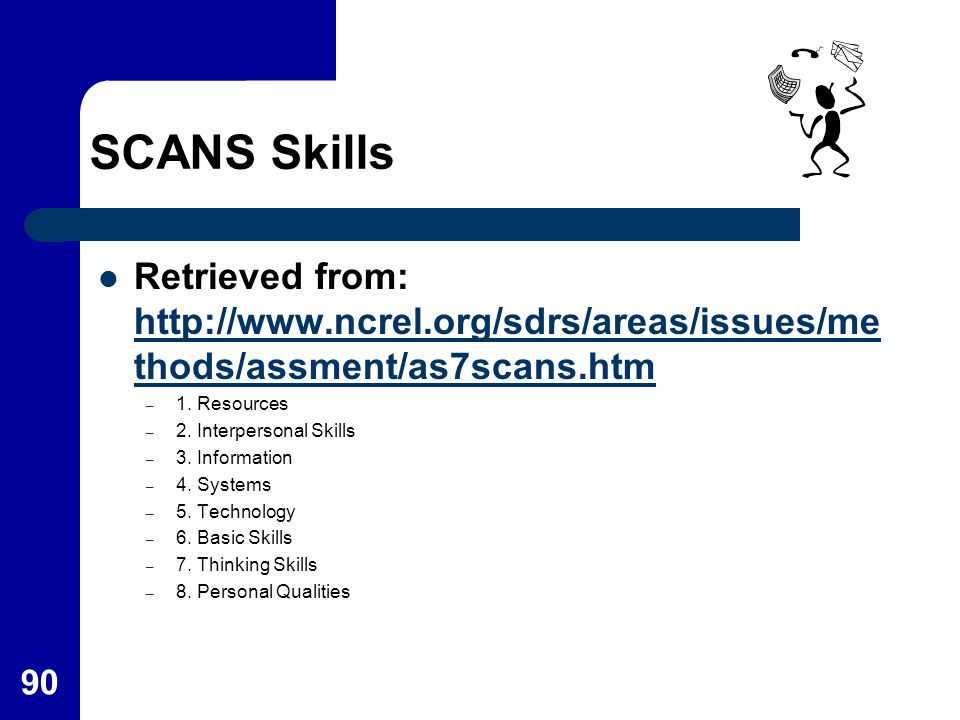SCANS Skills Retrieved from: http://www.ncrel.org/sdrs/areas/issues/methods/assment/as7scans.htm. 1. Resources.
