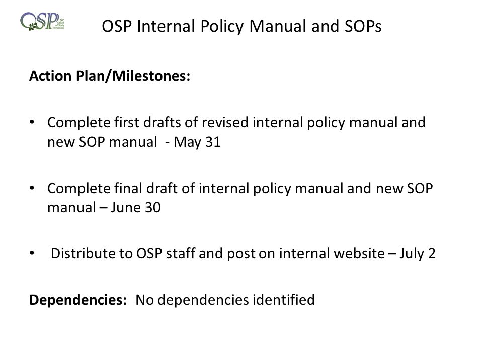 OSP Internal Policy Manual and SOPs