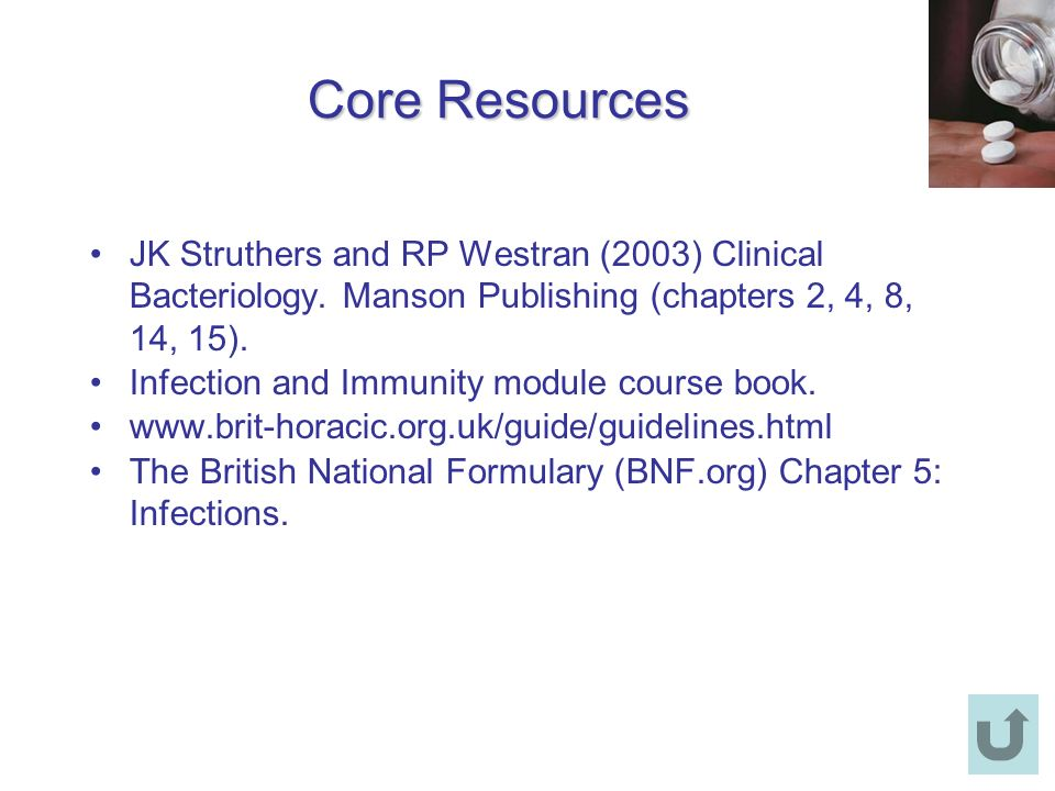 Core Resources JK Struthers and RP Westran (2003) Clinical Bacteriology. Manson Publishing (chapters 2, 4, 8, 14, 15).