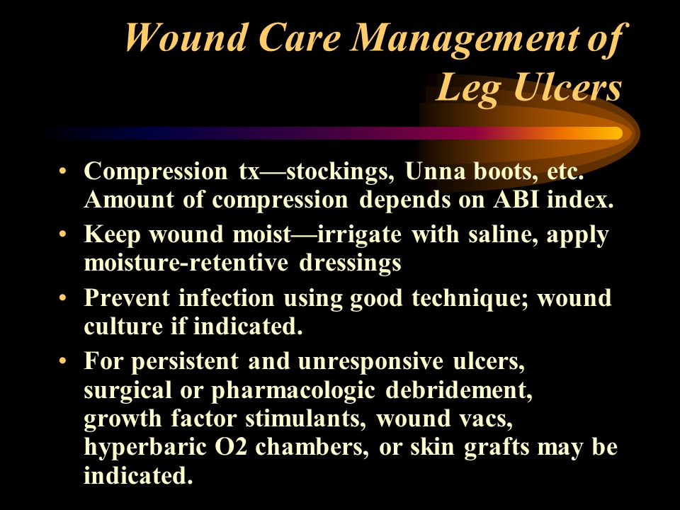 Wound Care Management of Leg Ulcers